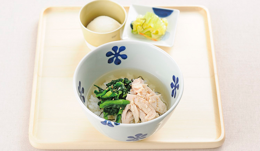 蒸滑雞青菜湯泡飯