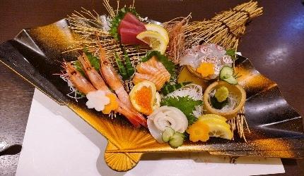 大阪心齋橋蟹しぐれ別館葉隠的生魚片大餐