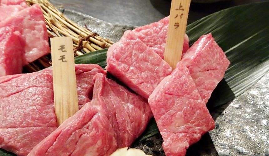 心齋橋黑毛和牛燒肉一套餐的上等牛肉