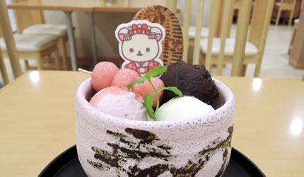東映太秦映畫村餐廳的小白熊造型草美甜點聖代