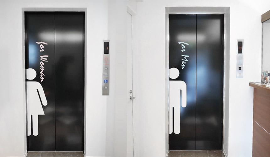 京都膠囊旅館「Capsule Resort Kyoto Square」電梯為男女分開使用,男性樓層位在2~5樓,女性樓層位在6~9樓
