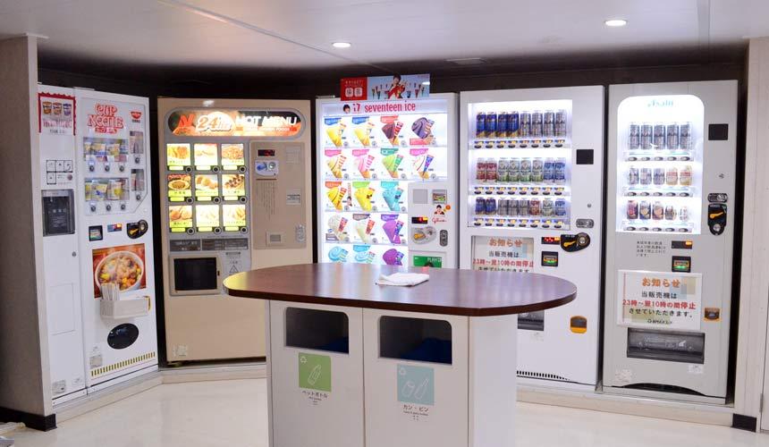 大阪⇌九州交通推薦:「名門大洋渡輪」上提供自動販賣機