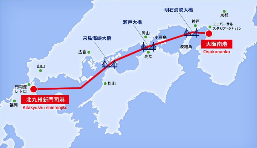 日本自由行大阪⇌九州交通推薦!「名門大洋渡輪」航行地圖