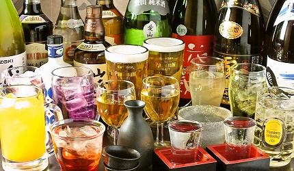 難波站徒步1分鐘螃蟹吃到飽大阪居酒屋「蟹DARUMA」的豐富飲料