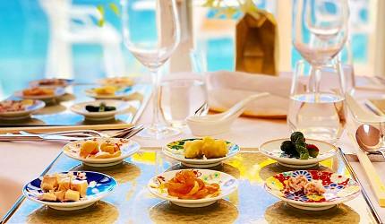 日本兵庫淡路島大型「HELLO KITTY SMILE」海景主題餐廳「Smile Restaurant」的開胃菜前菜六式(6種の特製前菜盛り合わせ)