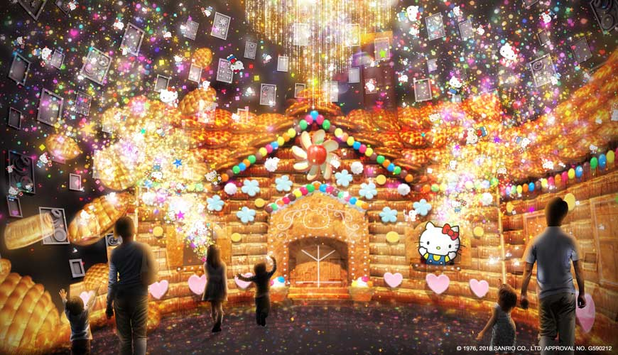 日本兵庫淡路島大型「HELLO KITTY SMILE」海景主題餐廳的藝廊與光雕投影劇院