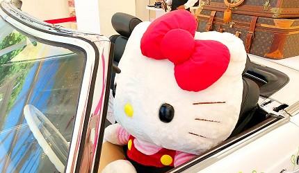 日本兵庫淡路島大型「HELLO KITTY SMILE」海景主題餐廳的時髦Kitty搭乘敞篷車