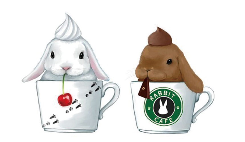 小狗被放在咖啡杯內的繪圖