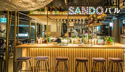 京都车站前购物推荐:京都塔商场「KYOTO TOWER SANDO」的B1F FOOD HALL美食大街的「KYOTO TOWER SANDOバル」的日本酒