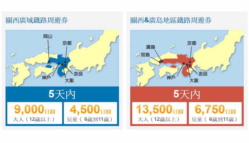 「关西广域」、「关西&广岛地区」的JR-WEST RAIL PASS