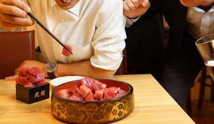 大阪天王寺魚壱商店的鮪魚疊疊樂