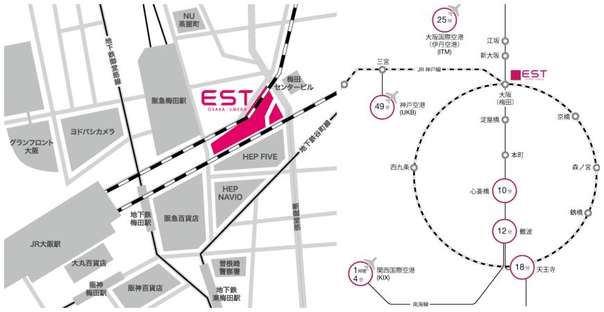 大阪梅田「EST」地理位置示意圖