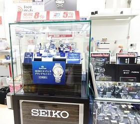 大阪秋葉原藥妝家電3C用品齊全「JOSHIN上新電機」的「SUPER Den Den LAND」4樓販賣SEIKO手錶