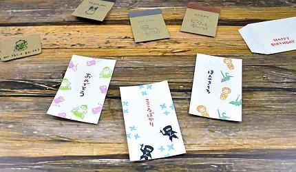 文具迷及包裝控大阪自由行必逛「シモジマ 下島包裝廣場・文具商城 心齋橋店」的各種印章搭配印台製作出的特色小卡