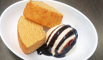 大阪難波涮涮鍋推薦:「しゃぶっと」難波店的甜點年輪蛋糕冰淇淋(厚切りバウムとアイスクリーム)