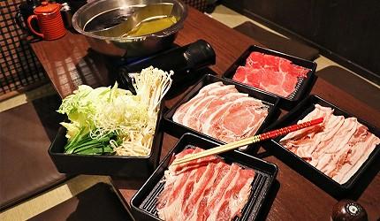 大阪難波涮涮鍋推薦:「しゃぶっと」難波店可以同時吃到牛肉與豬肉