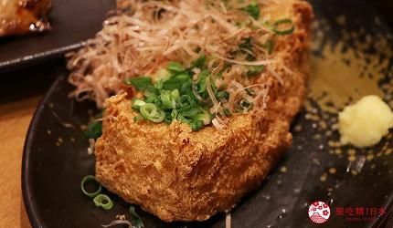 大阪難波道頓堀串燒串炸生魚片店家推薦「三代目 鳥メロ」的酥炸豆腐(揚げ豆腐)