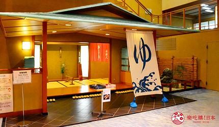 城崎日和山溫泉旅館「金波樓」的天然溫泉熱之湯門口