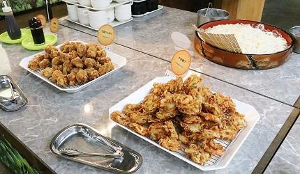 日本關西神戶必去景點「神戶動物王國」的自助餐的炸物
