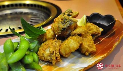 大阪道頓堀燒肉壽司吃到飽「滿腹市場・河豚安」的炸河豚(ふぐ唐揚げ)