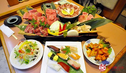 大阪道頓堀燒肉壽司吃到飽「滿腹市場・河豚安」的燒肉壽司料理
