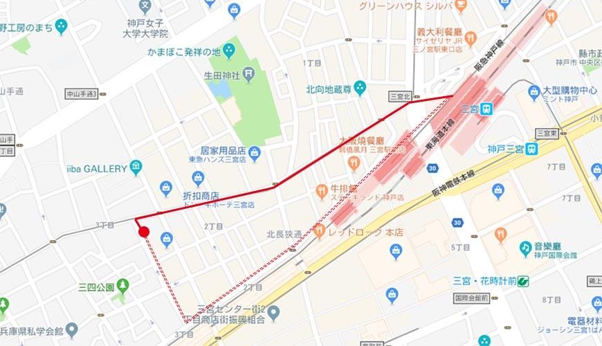 神户三宫名店「彩 SAI-DINING」的路线图