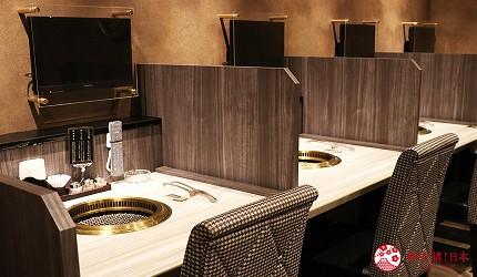 大阪心齋橋燒肉推薦必吃「黑毛和牛燒肉一」新設三樓空間單人座位與電視