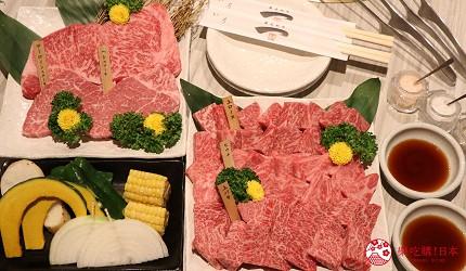 大阪心齋橋燒肉推薦必吃「黑毛和牛燒肉一」的橫綱A5種拼盤非常豐盛