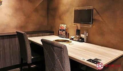 大阪心齋橋燒肉推薦必吃「黑毛和牛燒肉一」新設三樓空間情侶雙人座位、電視