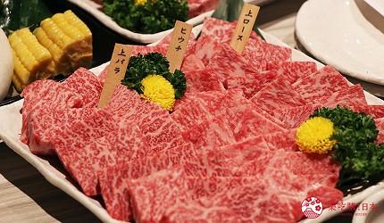 大阪心齋橋燒肉推薦必吃「黑毛和牛燒肉一」的橫綱A5種拼盤各個部位的高級牛肉