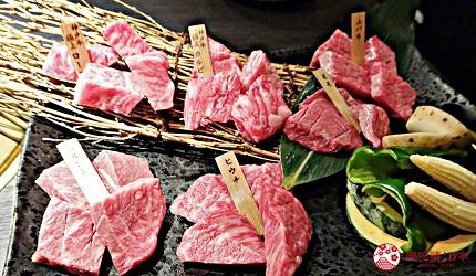 大阪心齋橋燒肉推薦必吃「黑毛和牛燒肉一」的各種肉品
