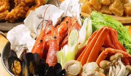 大阪難波海鮮大餐店家推薦「知床漁場 道頓堀店」的4號套餐