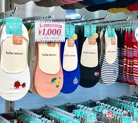 日本大阪難波車站內的「ekimo」的日系襪子店「tutu anna」販售的刺繡圖案襪子