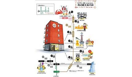 大阪住宿推薦通天閣新世界旁的平價民宿風旅館「Hotel金魚」提供的交通觀光路線
