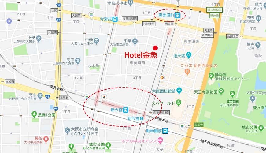 大阪住宿推薦通天閣新世界旁的平價民宿風旅館「Hotel金魚」的地圖