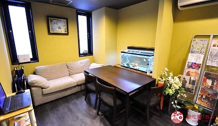 大阪住宿推薦通天閣新世界旁的平價民宿風旅館「Hotel金魚」的一樓公共空間