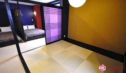 大阪住宿推薦通天閣新世界旁的平價民宿風旅館「Hotel金魚」另一側為和室空間