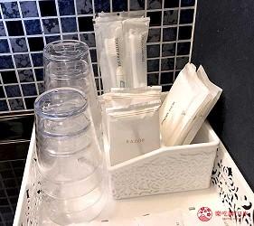 大阪住宿推薦通天閣新世界旁的平價民宿風旅館「Hotel金魚」提供的盥洗用具