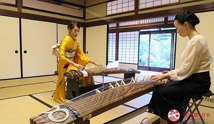 搭乘井原線到廣島福山市的福山城天守閣隔壁的福壽會館體驗古箏