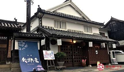 搭乘井原線到岡山桃太郎故鄉「總社市」的「矢掛屋」門口