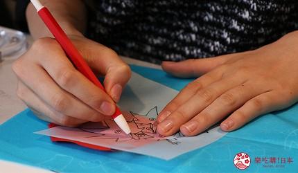 京都七條住宿推薦「HOTEL GLAD ONE 京都七條」提供的手撕和紙拼貼課程將圖案輪廓印到和紙上