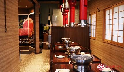 大阪推薦必吃的和牛燒肉店「黒べこ屋 裏難波店」店內二樓空間