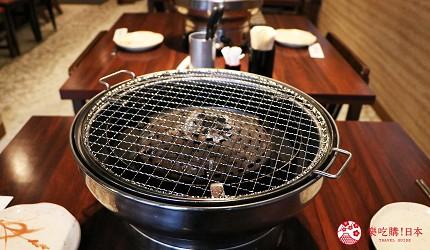 大阪推薦必吃的和牛燒肉店「黒べこ屋 裏難波店」店內烤爐