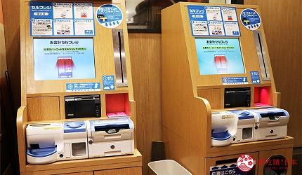 大阪道頓堀必吃日式煎餃專門店「大阪王將」的自動結帳機