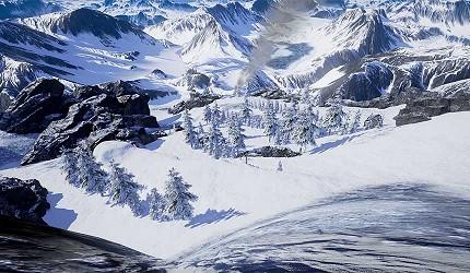 大阪梅田VR虛擬實境遊樂場「VR ZONE OSAKA」的遊戲急滑降體感機 巔峰飆雪(急滑降体感機スキーロデオ)的虛擬實境畫面