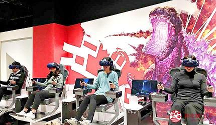 大阪梅田VR虛擬實境遊樂場「VR ZONE OSAKA」的遊戲哥斯拉(ゴジラVR)遊玩中