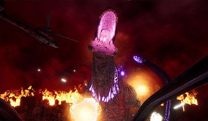 大阪梅田VR虛擬實境遊樂場「VR ZONE OSAKA」的遊戲哥斯拉(ゴジラVR)的虛擬實境畫面
