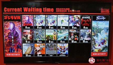 大阪梅田VR虛擬實境遊樂場「VR ZONE OSAKA」的服務台附近的螢幕