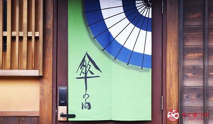 京都的西陣地區一間以江戶時代為主題,從裝潢到設備都花心思放入懷舊元素,帶住客穿越時空,回到時代劇中常見的日本古代盛世的特色旅宿——「長屋STAY京都西陣路地」內的特色房間傘之間的房間門口