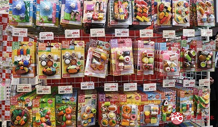 大阪必逛文具包装采购天堂「シモジマ 下岛包装广场・文具商城 心斋桥店」贩售的可爱造型橡皮抆